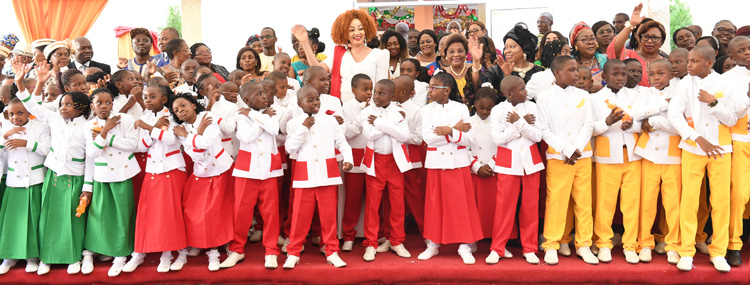 Pupils of 'Les Coccinelles' Pay Homage to Mrs Chantal BIYA