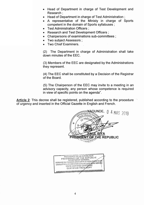 Decree No 2019/100 of 04 March 2019 to modify and complete certain