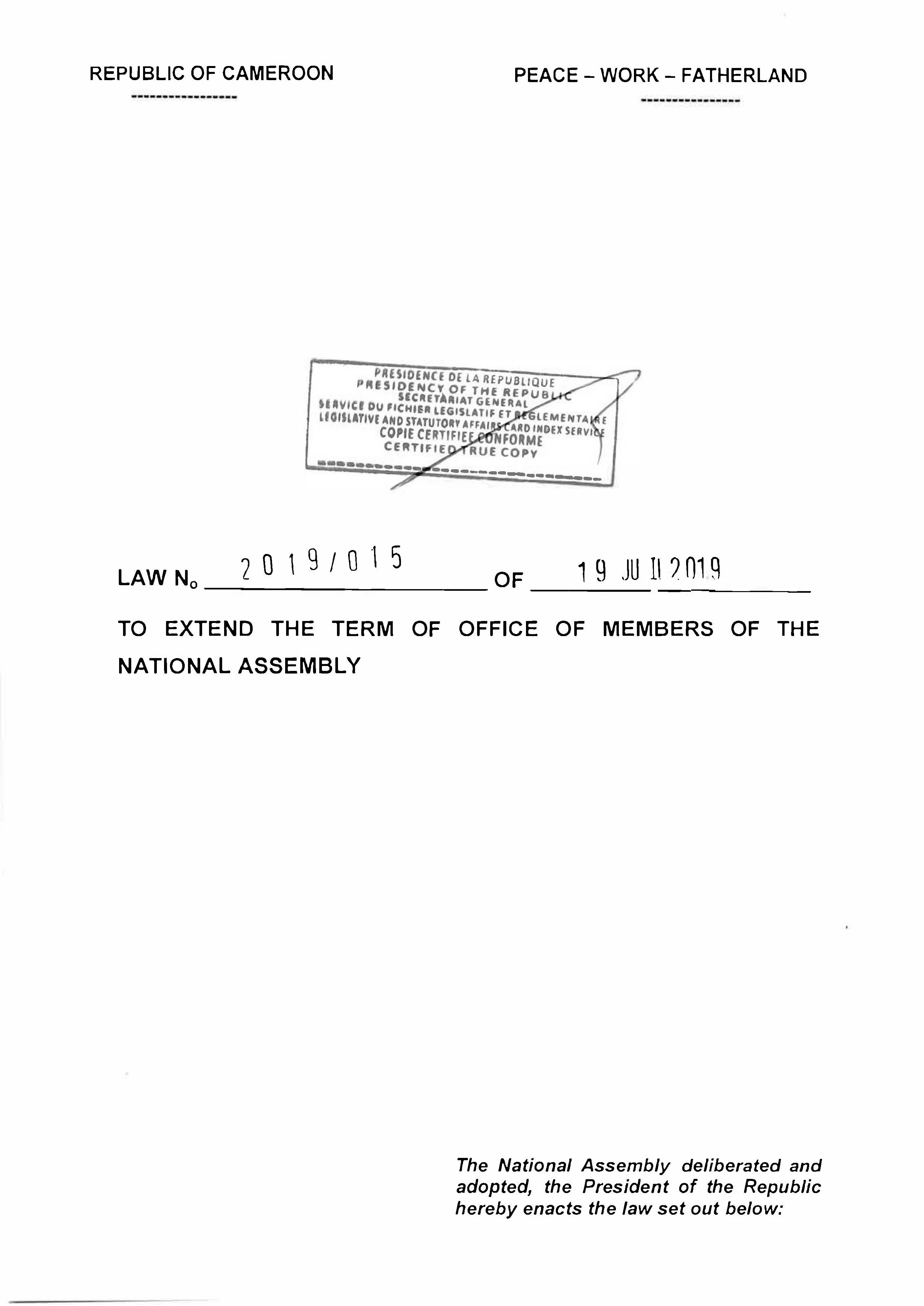 Law N° 2019/015 of 19 july 2019 to extend the term of office