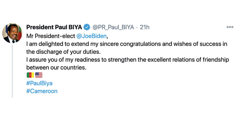 President Paul BIYA's Congratulatory Message to H.E. Joseph R. Biden, President-elect of the United States of America