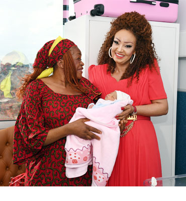 Mrs Chantal BIYA visits Mothers and Babies at CHRACERH