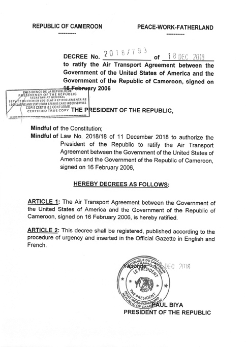 Decree N 2018793 Of 18 December 2018 To Ratify The Air Transport