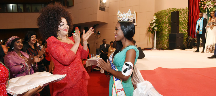 Madame Chantal Biya illumine le concours national Miss Cameroun 2018