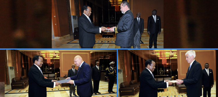 Ambassadors of Russia, Egypt and the United States of America present credentials at the Unity Palace